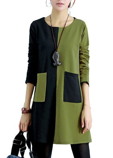 Long Sleeve Green and Black Patchwork Dress
