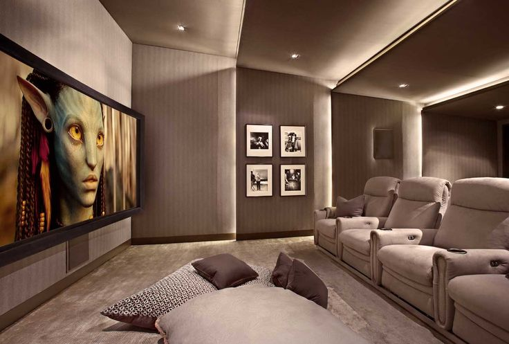 Lower storey cinema room hometheater projector home theatre surround sound plasma tv Home cinema interior design ideas