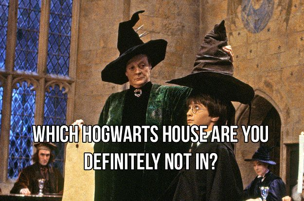 "This Sorting Hat Quiz Tells You The House You Definitely Wouldn't Be In (""You got: Ravenclaw Ravenclaw isn't the house for you, and that's just fine. You're more about street smarts than book smarts anyway. And also wouldn't it be a pain in the ass trying to solve a riddle every time you wanted to go into the Ravenclaw common room?"")"