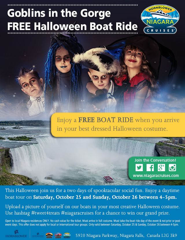 Dress to impress for a free boat ride! Come dressed in your most creative Halloween costume and experience Niagara's newest experience for FREE! This Halloween local residents can join us for two days of spook-tacular fun! Enjoy a FREE daytime boat tour this Saturday October 25th and Sunday October 26th when you arrive at Hornblower Niagara Cruises in your best dressed Halloween costume! Get the full details here http://bit.ly/1oaTFRU #Hornblower #NiagaraCruises #TweetforTreats