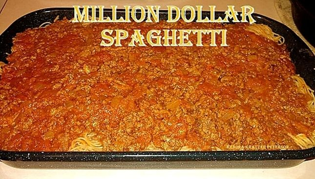 Million Dollar Spaghetti Recipe Main Dishes with ground beef, pasta sauce, house seasoning, onions, cream cheese, cottage cheese, sour cream, butter, noodles, shredded cheese