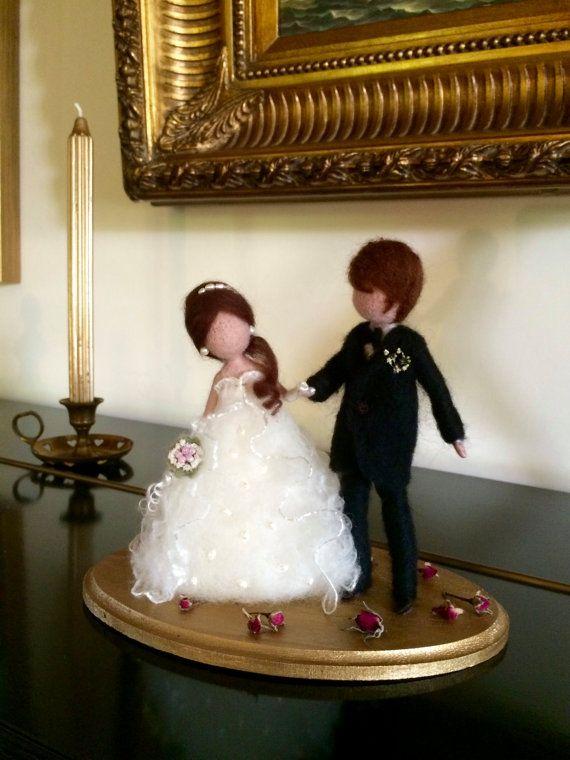 Cake toppers, Needle felted dolls, Wool Wedding Couple, White Black, Art doll…