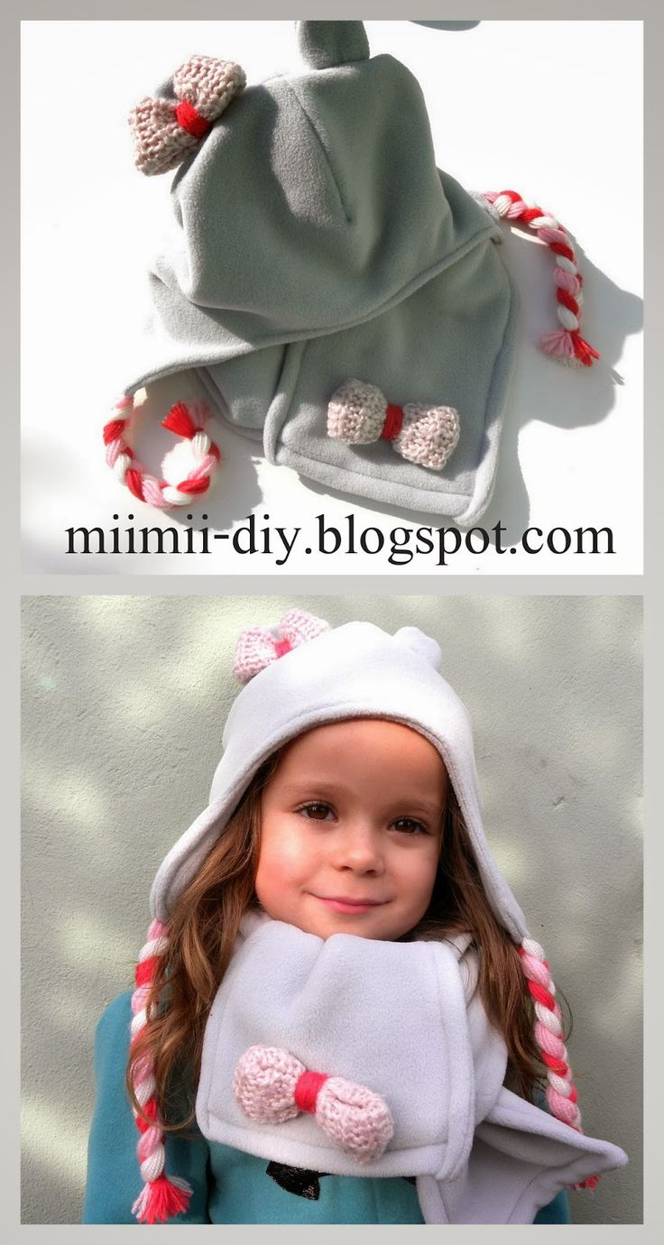 MiiMii - rękodzieło dla mamy i córki.: Jak uszyć czapkę i szalik z polaru na zimę. Pilotka z warkoczykami.