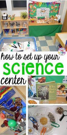 How to set up the science center (with freebies) in a preschool, pre-k, and kindergarten. Plus FREEBIES (posters, charts, and discovery pages)