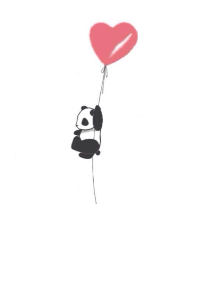 Panda on balloon wallpaper