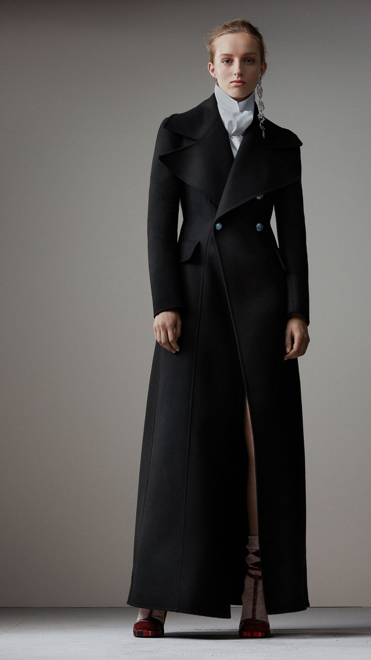Felted Wool Full-length Tailored Coat in Black - Women | Burberry