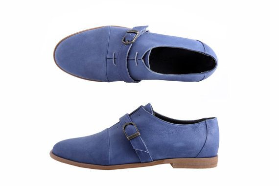 Christmas Sale 15 % leather men shoes  blue monk shoes by ADIKILAV