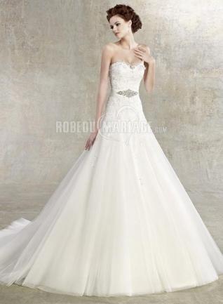 A-ligne tulle applique robe de mariée col en cœur broderie [#ROBE209438] - robedumariage.com