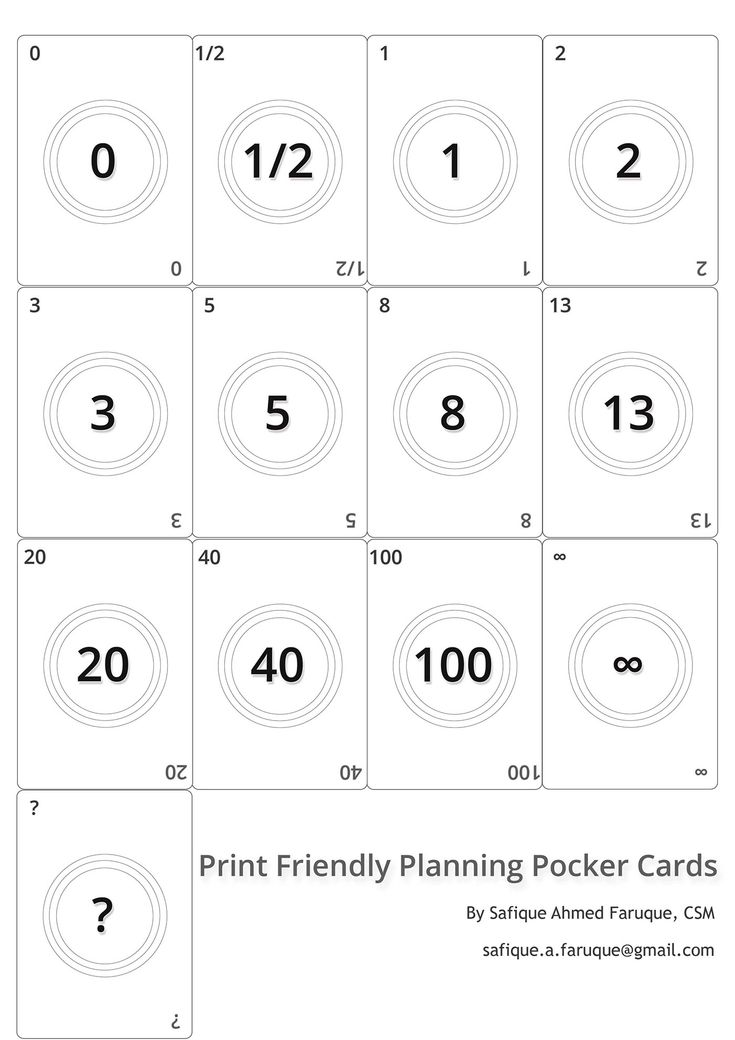 Agile Planning Poker Cards. Black and white print friendly cards to print.
