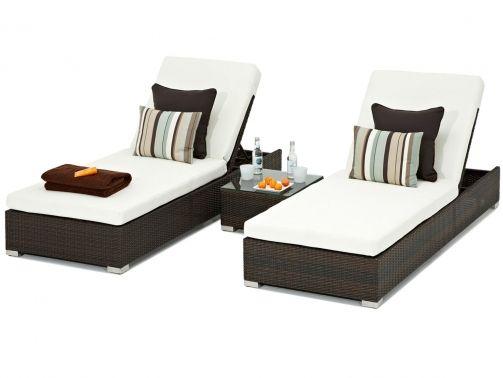 Furniture Range - Brown Sun Loungers Set - Outdoor Rattan Sunloungers Set