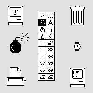 Susan Kare, original Macintosh icons. Masterful use of very few pixels. (c. 1984)