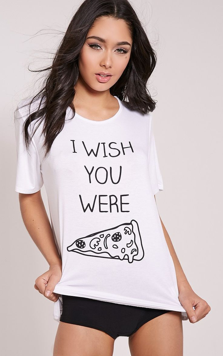 I Wish You Were Pizza White Knicker Pyjama Set