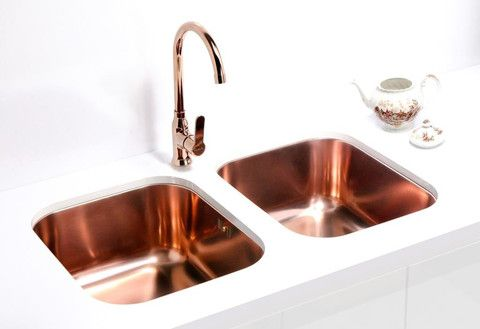 Alveus Monarch Variant 40 Copper, undermount sink Alveus Variant 40 kitchen sink, stainless steel in COPPER finish, and Alveus Slim kitchen mixer tap, chrome in COPPER finish. #coppersink