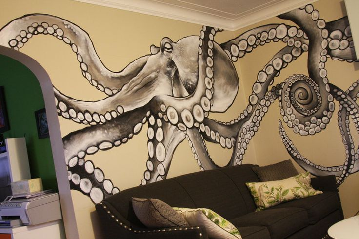 Wrap- couch would be nuts to have an octopus mural in your home but i want one
