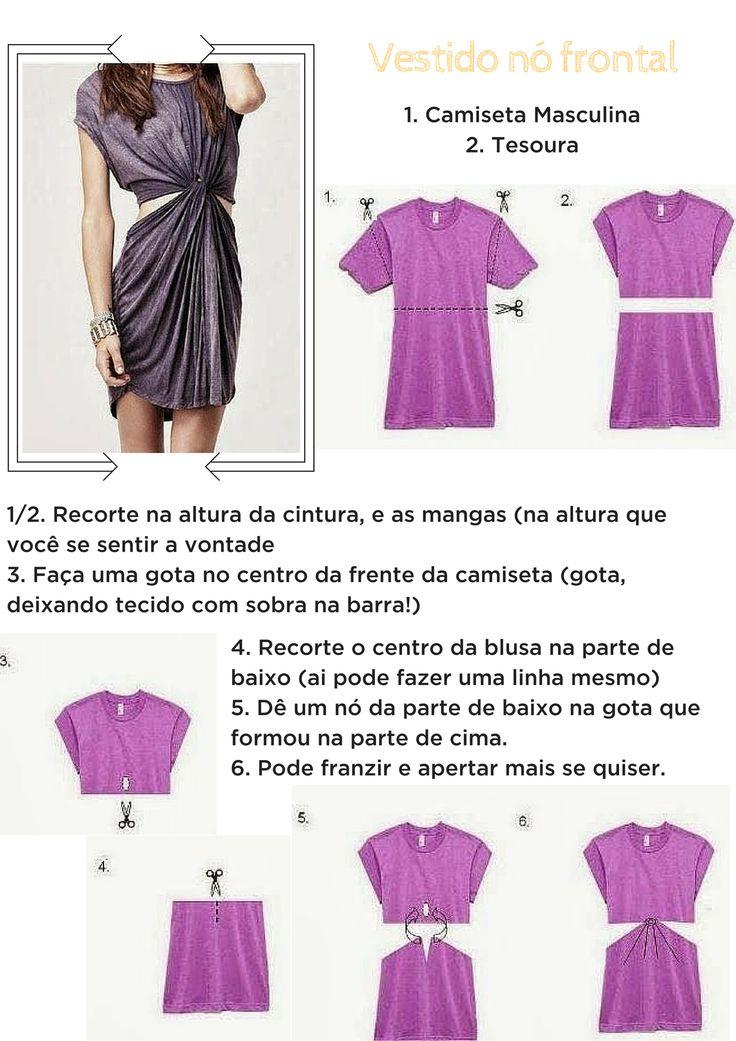 camiseta masculina - transformar em vestidos