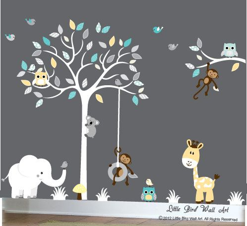 White tree childrens decal with yellow and by Littlebirdwalldecals