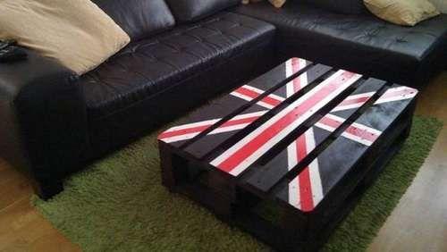 table basse vintage drapeau anglais