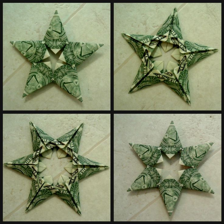 Origami Stars made with dollar bills