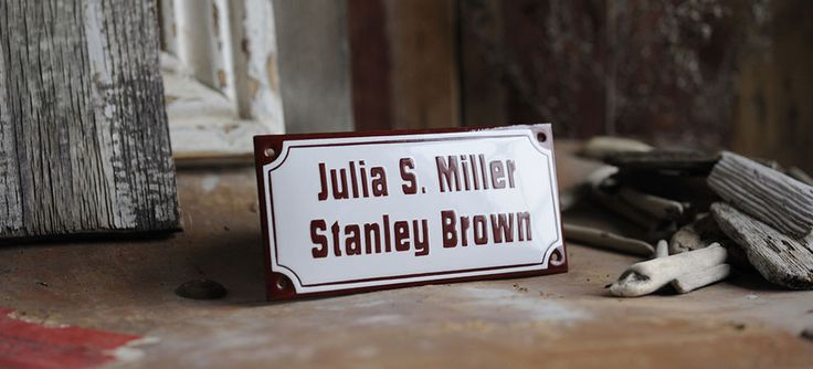 Our stylish enamel name plates come in a great number of variations, and these signs are tailor made to meet your specific needs.