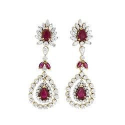 8.38cts Natural Ruby and Diamond Drop Earrings