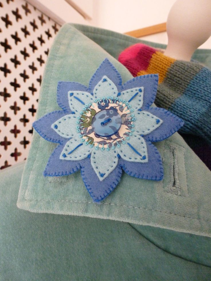 Embroidered felt brooch