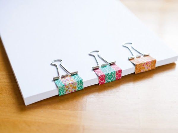 DIY Back to School Washi Tape Binder Clips by Coleen [http://sheheartsit.com]