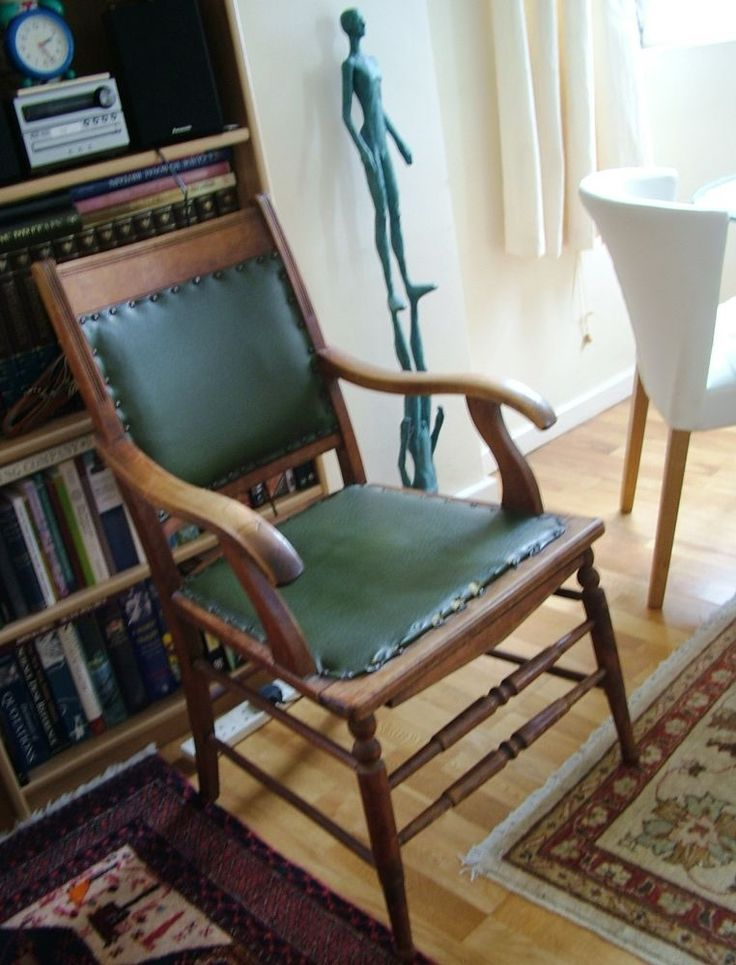 Vintage Hall/Study Chair with green seat in Home, Furniture & DIY, Furniture, Chairs | eBay