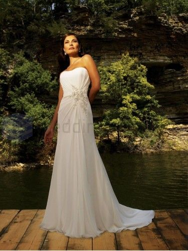 Column Chiffon Ruched Bodice Softly Curved Neckline Sweep Train Wedding Dresses
