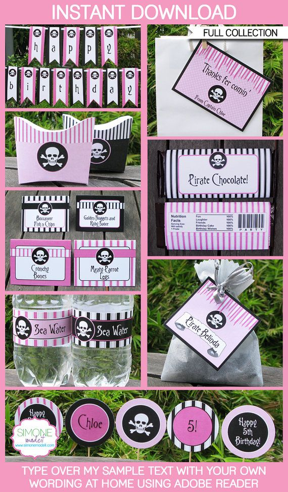 Type your own text into this HUGE pink Girls Pirate printable collection that includes all the printables you need for your girl Pirate party!