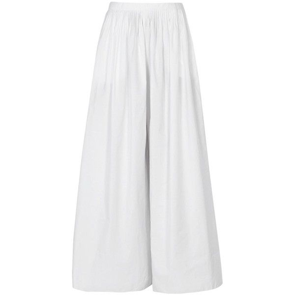 Womens Wide-Leg Trousers THE ROW Vopa White Wide-leg Cotton Blend... (€1.870) ❤ liked on Polyvore featuring pants, pleated wide leg trousers, white trousers, white pants, wide-leg pants and pleated pants