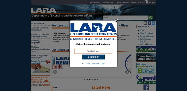 The Michigan Department of Licensing and Regulatory Affairs uses a website overlay to keep citizens updated by capturing the email addresses of visitors to their homepage. An overlay brings in 100-300% more audience growth than an email sign up link or box on a website. #overlay #audiencegrowth #emailsignup