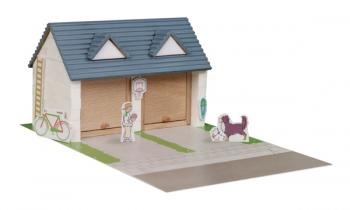 Construction kit with real bricks of a garage. The building blocks can be reused because the cement is dissolved in water. Contains: construction bricks, cement , wood building components, spatula, bowl, plate and a foam board with figures.