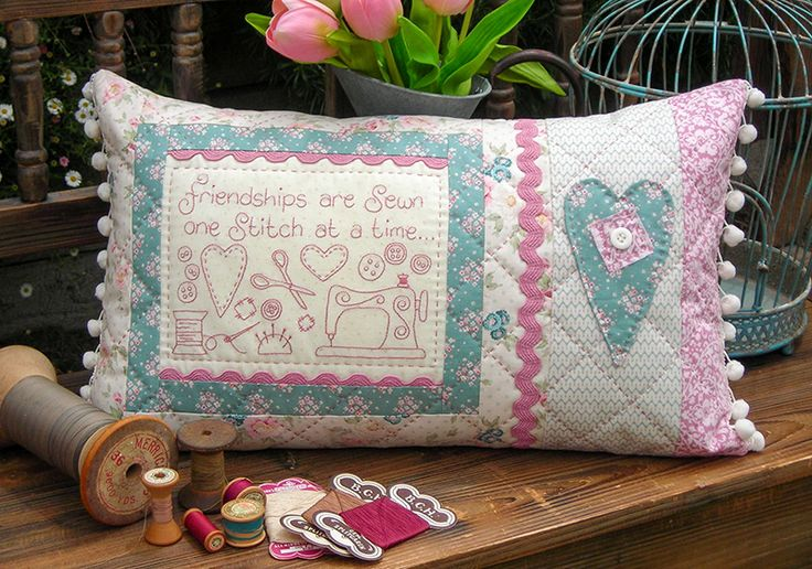 """Friendships are sewn Verse reads: Friendships are sewn one stitch at a time... Finished cushion size: 13"""" x 22½"""""""