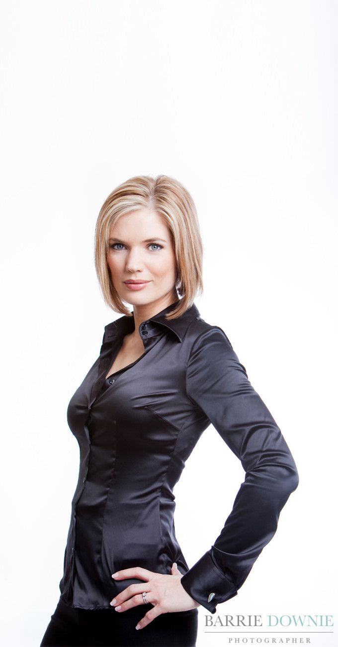 Charlotte Hawkins In Black Satin Fitted Blouse Nigrum