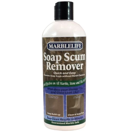 Marblelife Soap Scum Remover is a truly unique product, in that it is an abrasive that will absolutely not scratch sensitive marble, travertine, slate or natural stone showers, including glass, metal and plastic enclosures and fixtures.