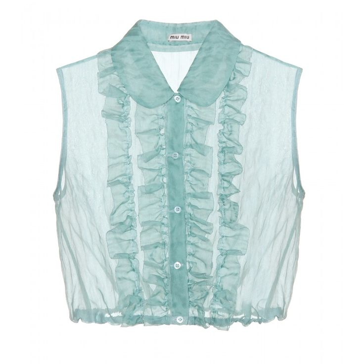 Miu Miu - Cropped blouse - Miu Miu's aqua-hued cropped shirt features ruffles down the front and an elasticated waistband that defines its shape. Wear it with high-waisted flares to expose just a hint of midriff. seen @ www.mytheresa.com