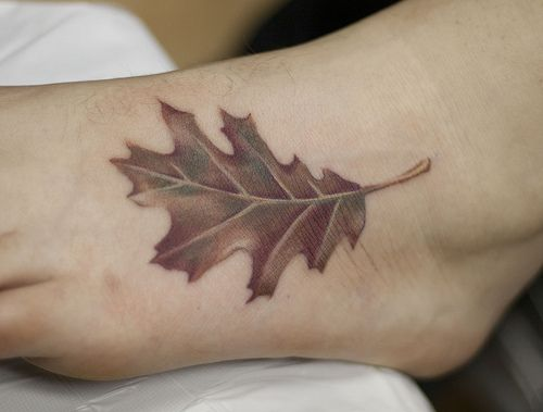 Nice oak leaf tattoo - similar to what I want.