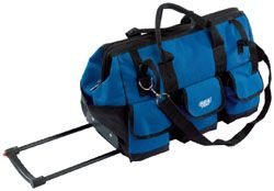 blue tool bag with wheels