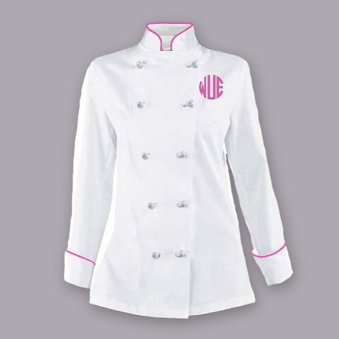 Women's chef coat. Get it monogrammed at no extra cost.
