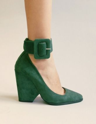Jeffrey Campbell - Green suede ankle strap heel