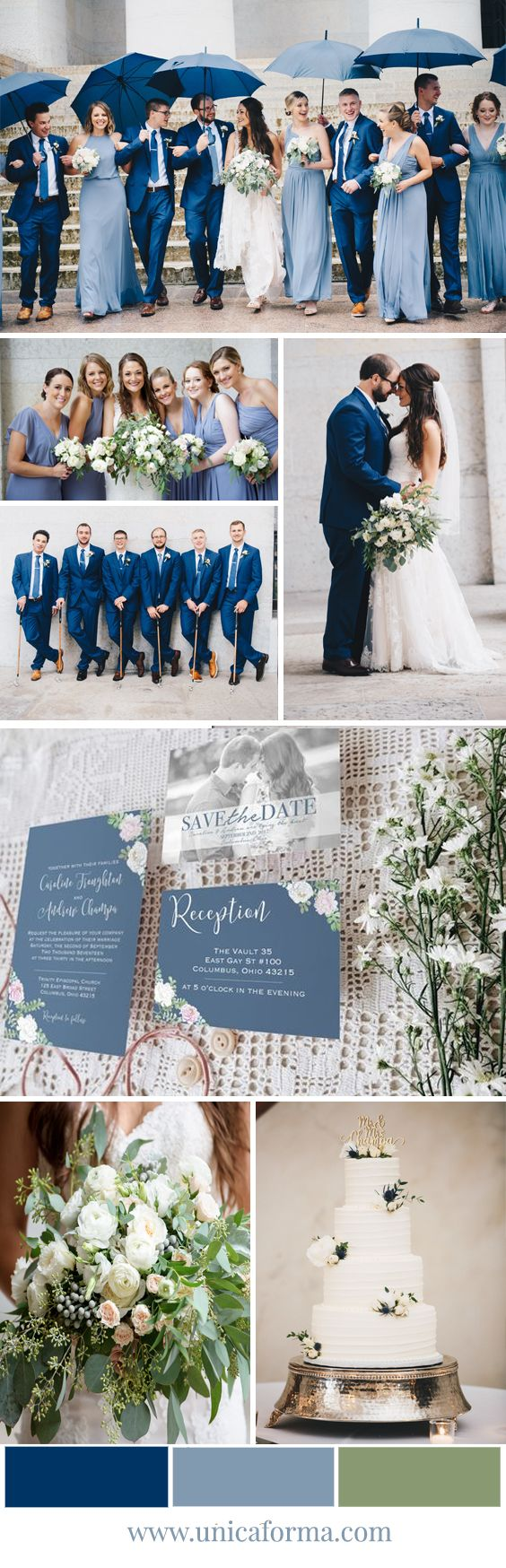 Dusty blue wedding. Navy blue wedding. French blue wedding. Shades of blue. Rainy wedding. Black tie wedding. White wedding bouquet. Greenery wedding. Soft blue wedding palette. Wedding Etiquette. How to host a bridal shower. Budget wedding. Cheap wedding invitations. Classy wedding invitations. Timeless wedding invitations. Greenery bouquet with white flowers. Photo save the dates. White wedding cake