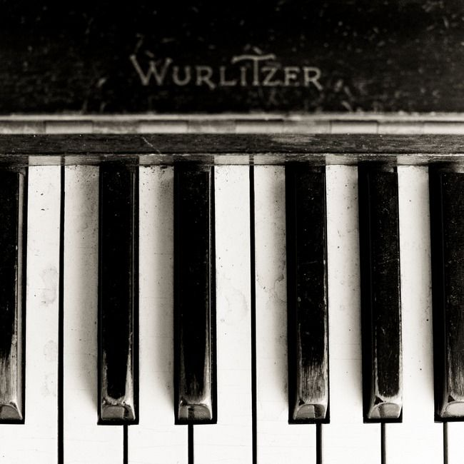 """Wurlitzer Piano (Square Format)"" by bill miles, Richardson // Old Wurlitzer piano in black and white, square format. This piano resides in my garage, hoping to be restored one day. // Imagekind.com -- Buy stunning, museum-quality fine art prints, framed prints, and canvas prints directly from independent working artists and photographers."