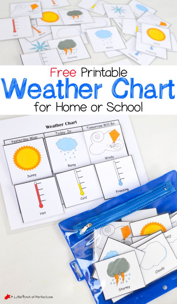 free printable weather chart for home or school subject science