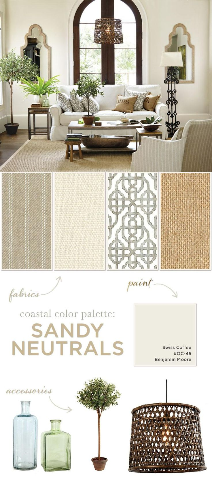 Living room with color palette of tans and whites
