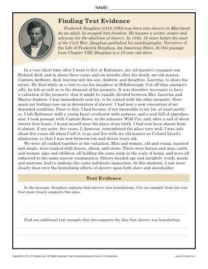 Your student will look for textual evidence in Frederick Douglass' autobiography in this worksheet.