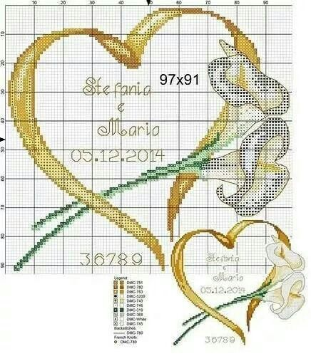 Cross-stitch Ribbon Heart with Lilies, part 3... g U i j v