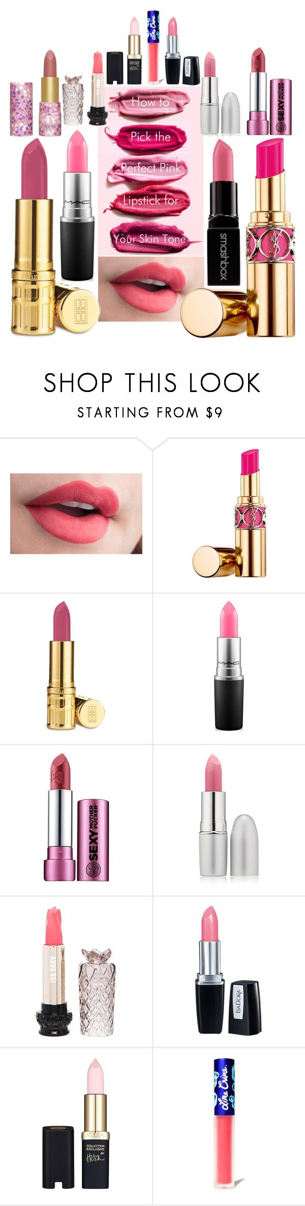 """Pink Lipstick"" by creation-gallery ❤ liked on Polyvore featuring Yves Saint Laurent, Elizabeth Arden, MAC Cosmetics, Smashbox, tarte, TheBalm, Anna Sui, Isadora, L'Oréal Paris and Lime Crime"