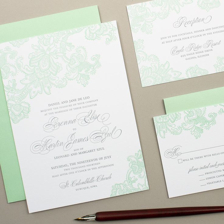 mint green letterpress wedding invitations for classic weddings