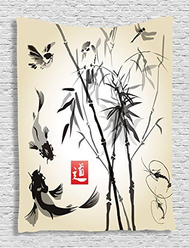 Ambesonne Traditional Japanese Decor Collection Bamboo in The Bird and Fish Handdrawn with Ink Image Bedroom Living Kids Girls Boys Room Dorm Accessories Wall Hanging Tapestry Black Gray Ivory * Learn more by visiting the image link.
