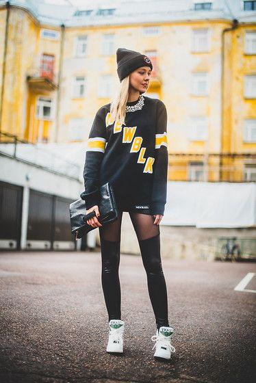 New Black Sweater, Bik Bok Clutch, Rotsiauki Beanie, Gina Tricot Necklace
